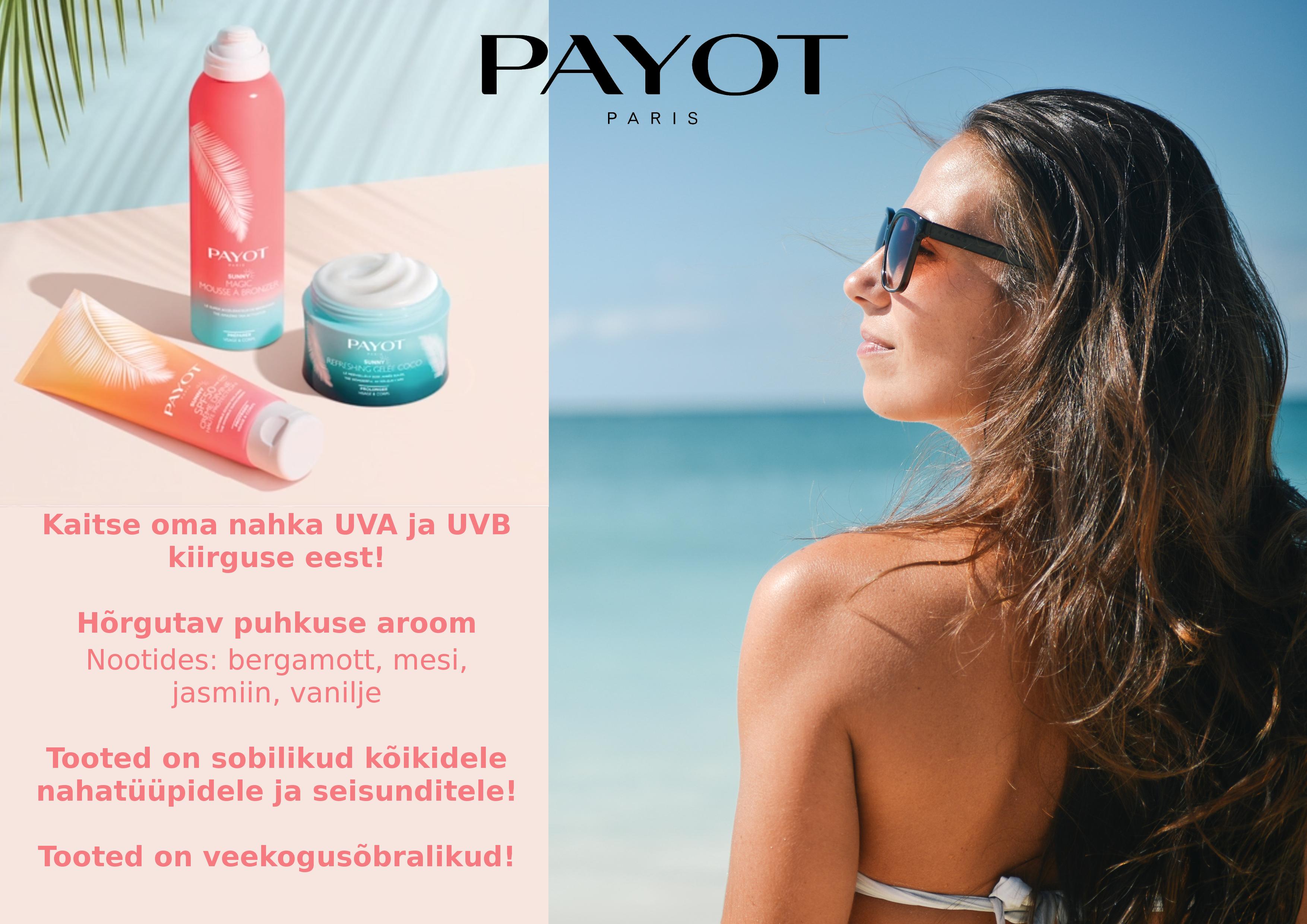 112aba3add2 Payot Sunny on uus optimaalse UVA ja UVB kaitsega toodete sari, mille  eesmärgiks on keskkonda ja veekogusid säästvalt pakkuda tõhusaid  päikesekaitsetooteid.